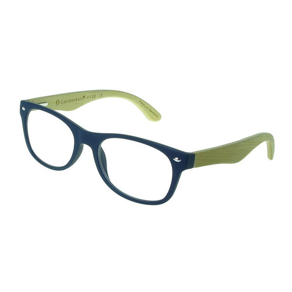 Goodlookers Oakland Bamboo Reading Glasses Matt Blue GL2220 side