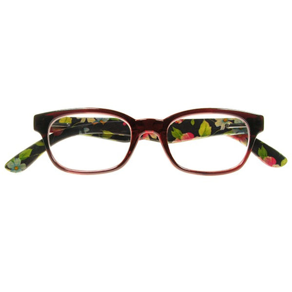 Goodlookers Natural Bamboo Reading Glasses Tallulah Red front