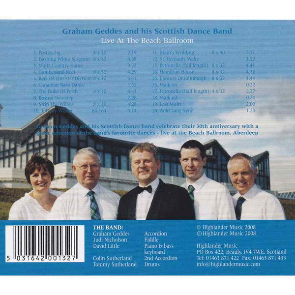 Graham Geddes & His Scottish Dance Band - Live At The Beach Ballroom CD inlay track list