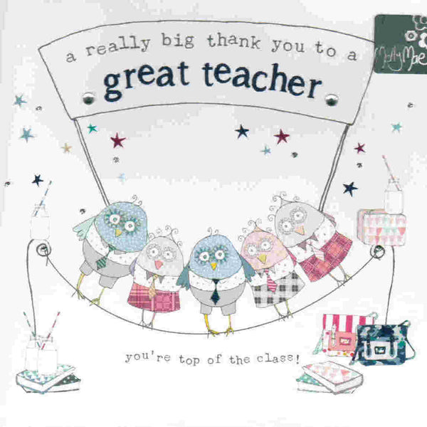 A Really Big Thank You To A Great Teacher - card