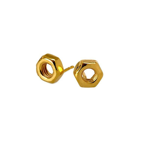 Hard-Wear Yellow Gold Hex Nut Stud Earrings