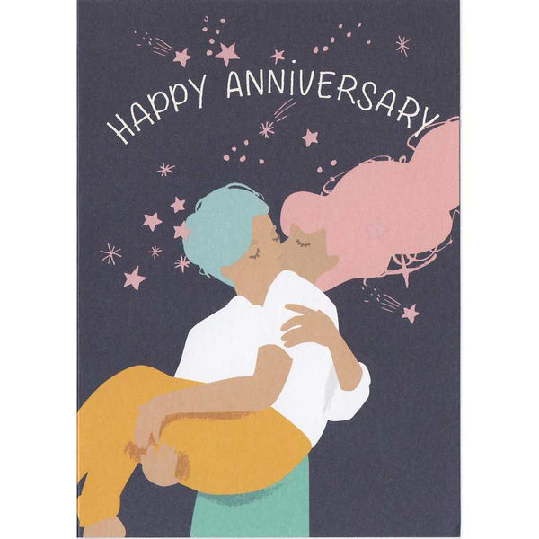 Happy Anniversary Kissing Couple Card