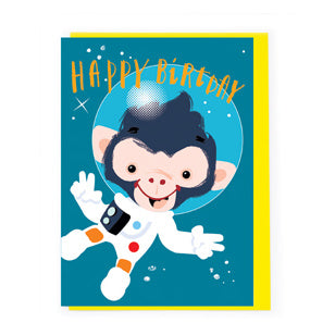 Happy Birthday Card Monkey Astronaut AX009
