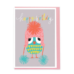 Happy Birthday Dinky Owl With Hat AC003