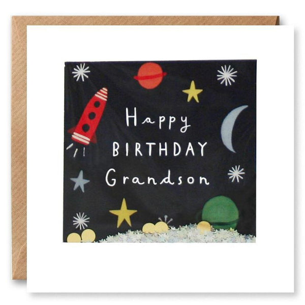 Happy Birthday Grandson Space Shakies Card PT2877