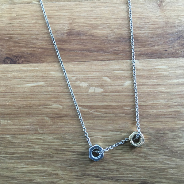 Hard-Wear Silver / Yellow Gold Hex Nut Necklace