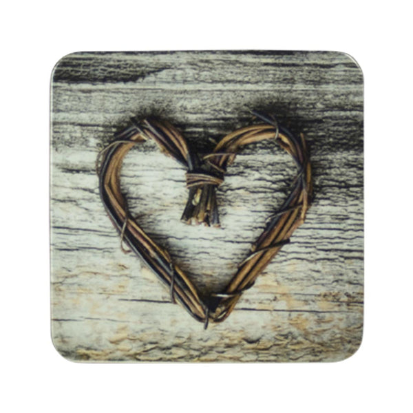 Twig Heart Coaster front