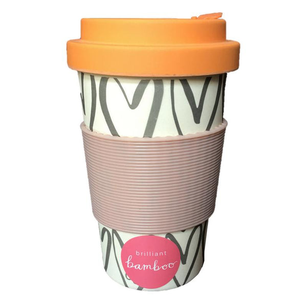Hearts Outline Bamboo Coffee Cup front