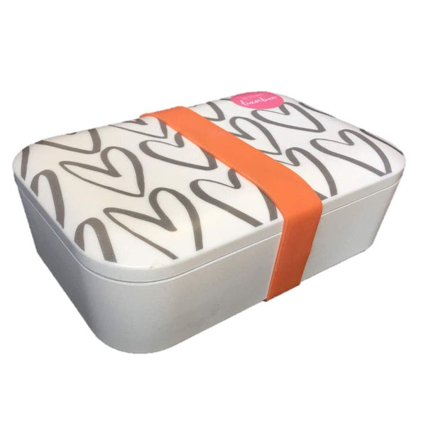 Hearts Outline Bamboo Lunch Box angle