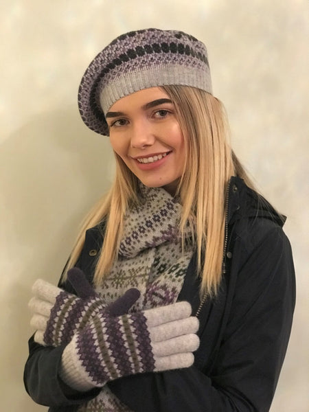 Hermione Granger Hat on model with matching scarf and gloves