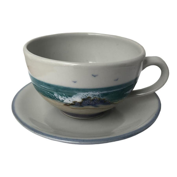Highland Stoneware Seascape Cappuccino Cup and Saucer