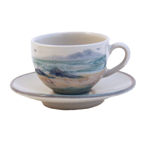Highland Stoneware Seascape Lungo Cup & Saucer front