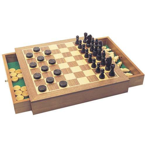 House Of Marbles Wooden Chess & Draughts Set 255559