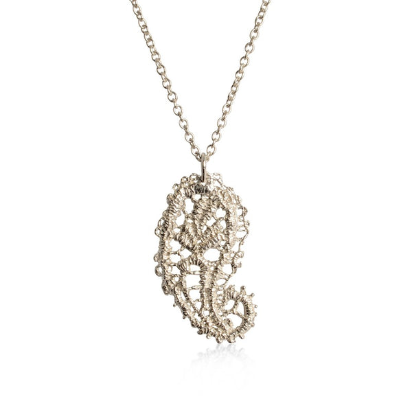 I Love A Lassie Antique Lace Paisley Pendant Silver Necklace