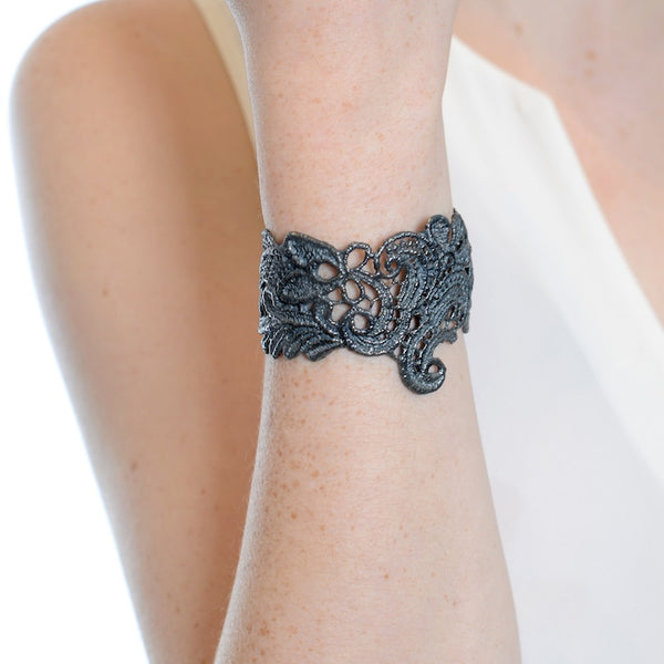 I Love A Lassie Antique Lace Cuff Rhodium on model