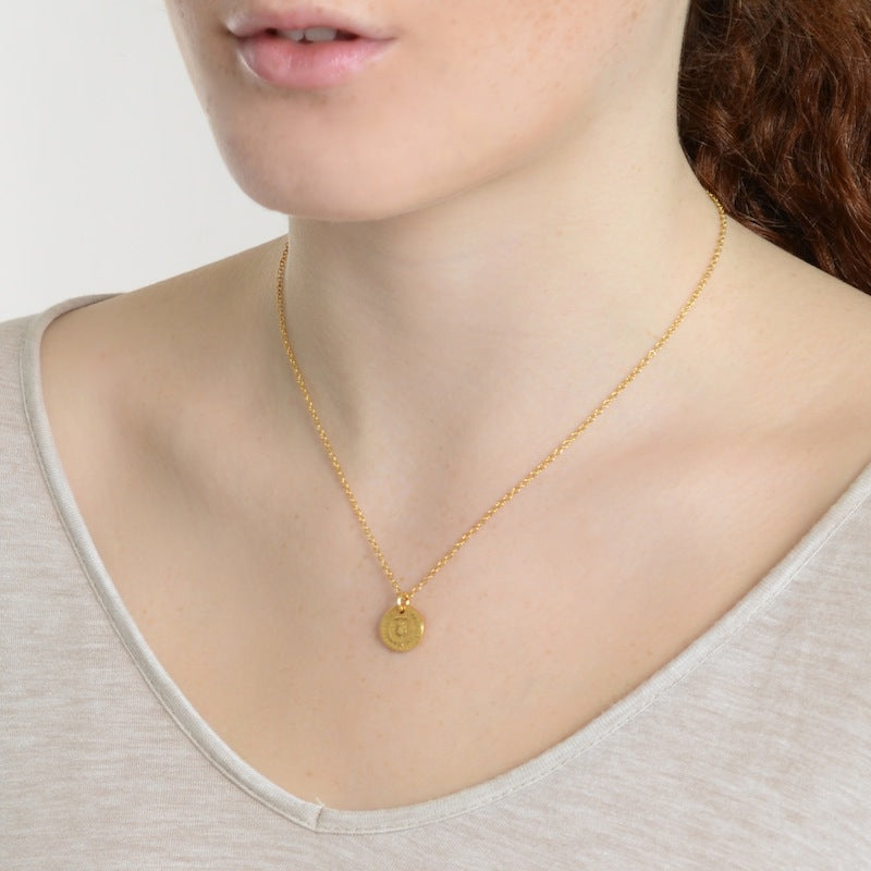 I Love A Lassie Bawbee Coin Gold Necklace on model