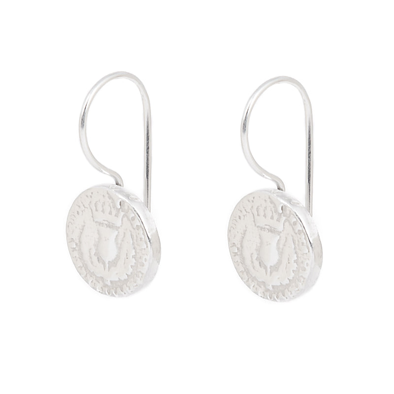 I Love A Lassie Bawbee Coin Silver Drop Earrings