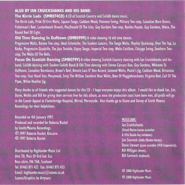 Ian Cruickshanks and His Band - Lassie Come And Dance Wi Me CD booklet inside