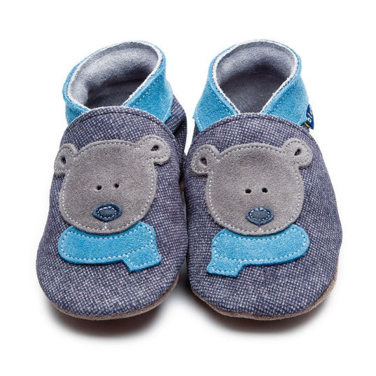 Inch Blue Baby Booties Bertie Bear Denim & Indigo front