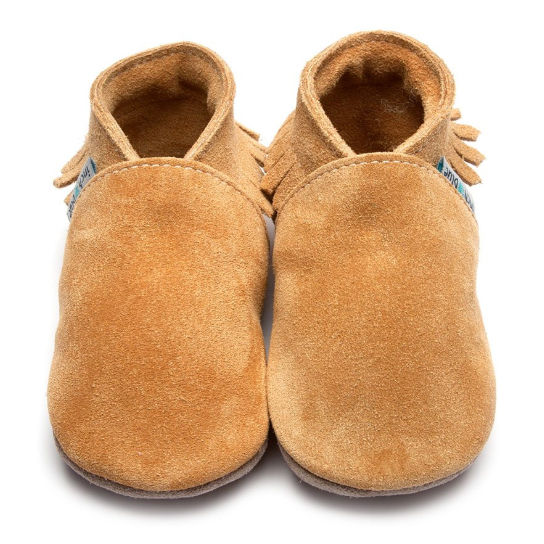 Inch Blue Baby Booties Tan Moccasin front