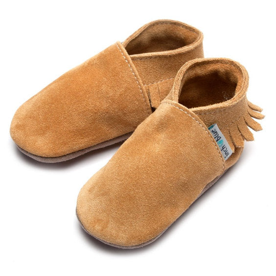 Inch Blue Baby Booties Tan Moccasin side 1