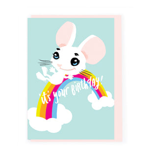 It's Your Birthday card Sweet Rainbow Mouse AX003