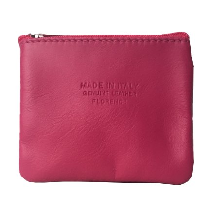 Italian Leather Coin Purse Fuschia Pink front