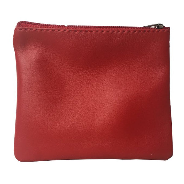 Italian Leather Coin Purse Berry Red back