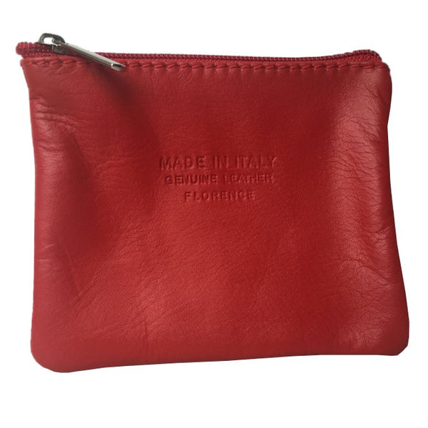 Italian Leather Coin Purse Berry Red front
