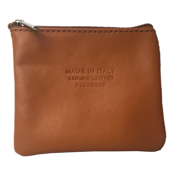 Italian Leather Coin Purse Tan front
