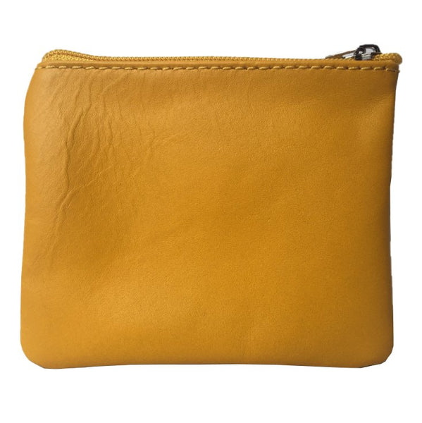 Italian Leather Coin Purse Gorse Yellow back