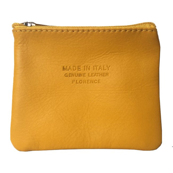 Italian Leather Coin Purse Gorse Yellow front