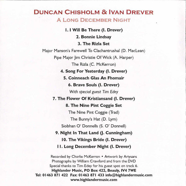 Ivan Drever & Duncan Chisholm - Long December Night CD inside cover