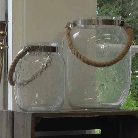 Glass Jar Lantern with Rope Handle