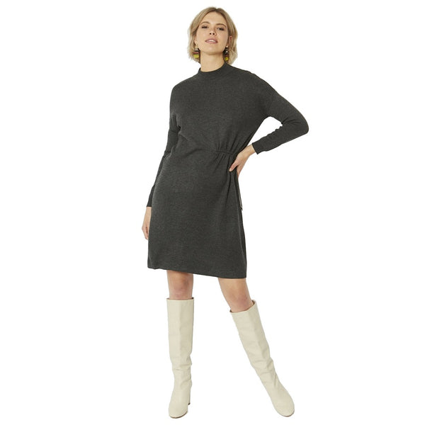 Jayley Cashmere Blend Dress in Grey on model front