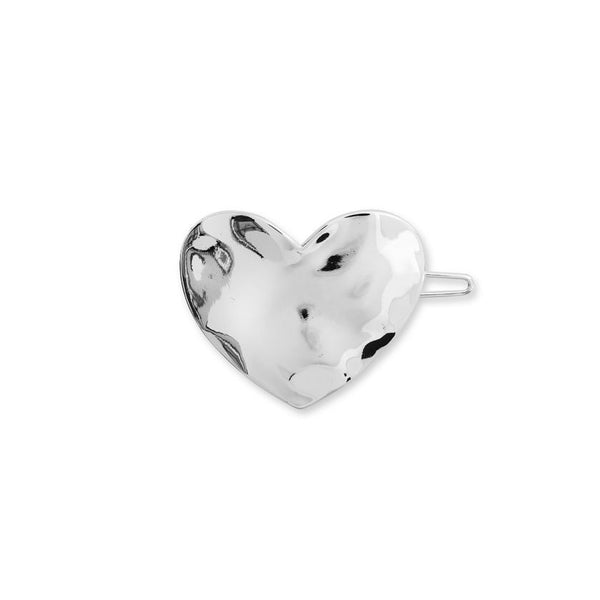 Joma Jewellery Hammered Silver Heart Hair Clip 3670 main