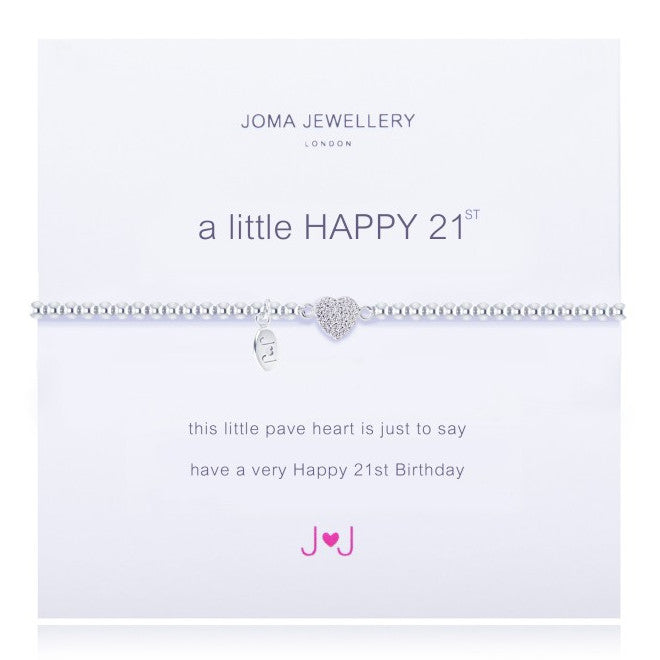 Joma Jewellery A Little Happy 21st Birthday Pave Heart Bracelet 1220