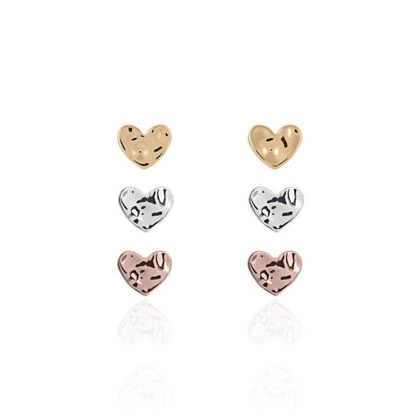 Joma Jewellery Florence Hammered Heart Earrings Set 3265 main