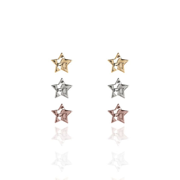 Joma Jewellery Florence Hammered Star Earrings Set 3262 main