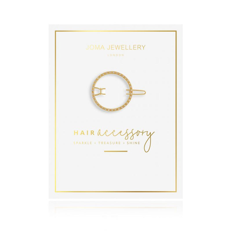 Joma Jewellery Pave Circle Hair Clip Gold 3334 on card
