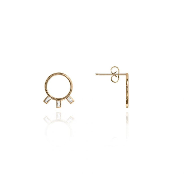 Joma Jewellery Statement Studs Crystal Circle Earrings 3300 front and side