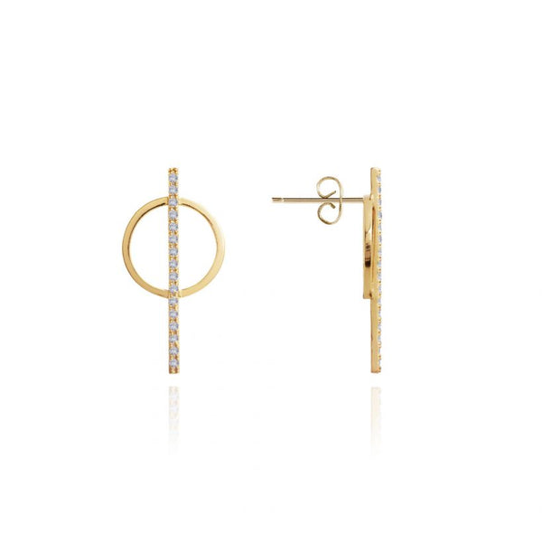 Joma Jewellery Statement Studs Pave Bar Circle Earrings 3302 front and side