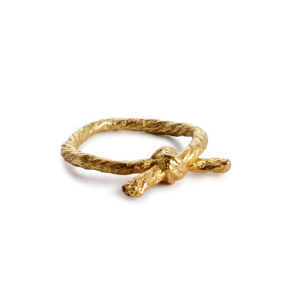 Knotted String Yellow Gold Ring