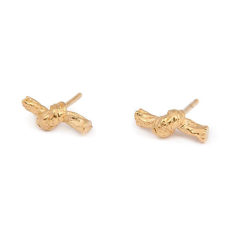 Knotted String Yellow Gold Stud Earrings