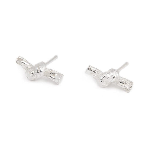 Knotted String Silver Stud Earrings