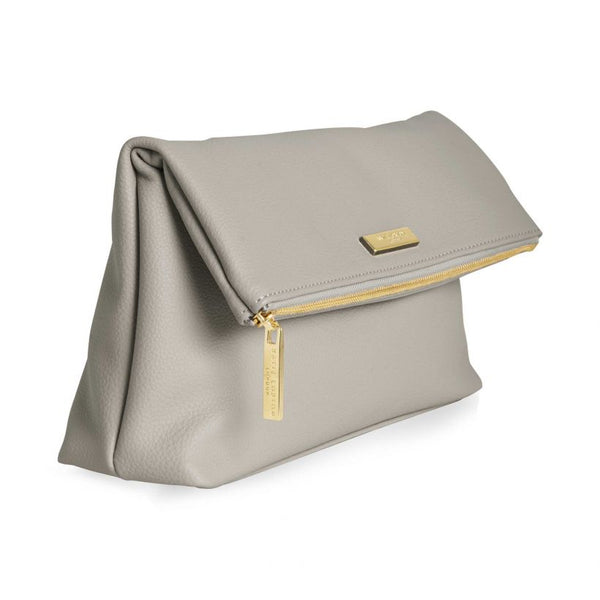 Katie Loxton Alise Soft Pebble Fold Over Clutch Stone KLB659 side