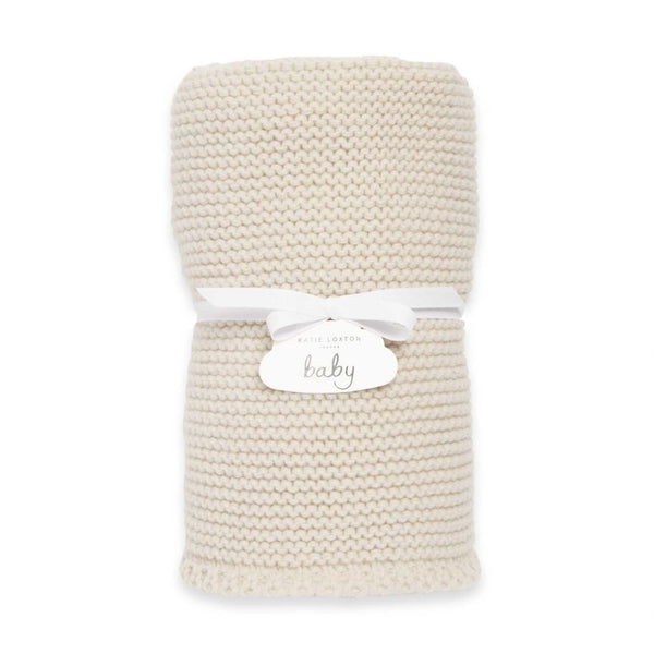 Katie Loxton Knitted Baby Blanket Cream BA0040