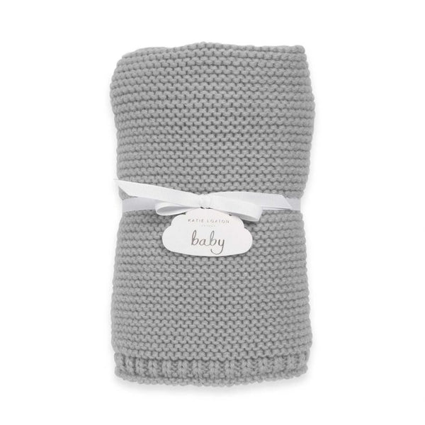 Katie Loxton Knitted Baby Blanket Grey BA0039