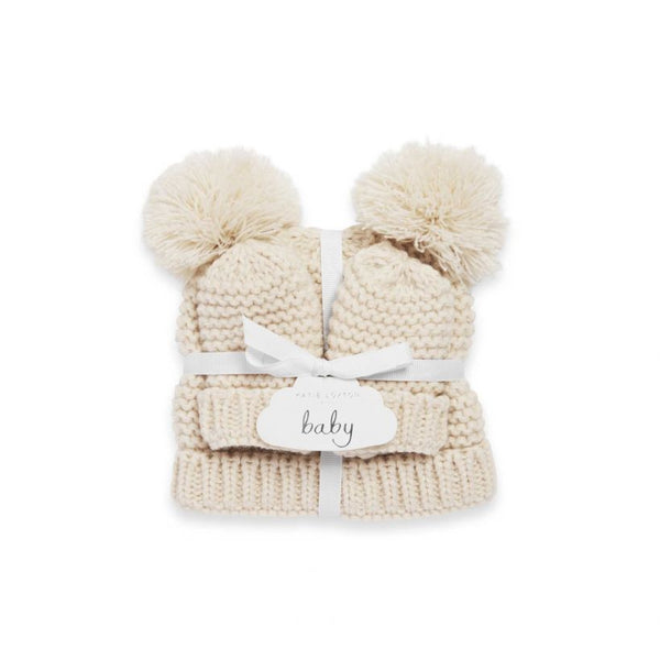 Katie Loxton Knitted Baby Hat and Mittens Cream BA0042