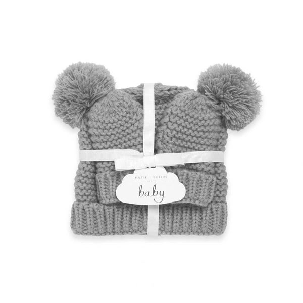 Katie Loxton Knitted Baby Hat and Mittens Grey BA0041